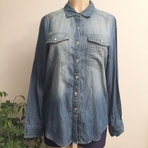 NWT Polly & Esther Chambray Denim Top WU368